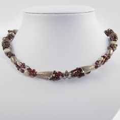 Red garnet necklace, handmade gemstone beaded garnet and Thai silver, finished with a magnetic clasp. - pinned by pin4etsy.com