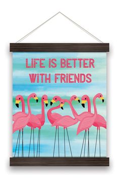 Orange Circle Studio Life is Better With Friends Flamingo Banner Flamingo Art, Pink Flamingos, Flamingo Gifts, Canvas Signs, Canvas Wall Art, Wall Banner, Home Wall Decor, Paint Party, Wall Signs