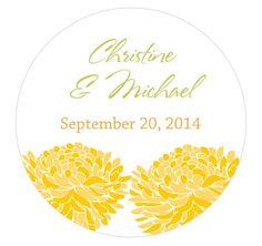 Zinnia Bloom Small Yellow Wedding Favor Sticker for DIY Favor Wrap