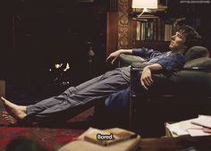 Sherlock BBC... I wish I could get away with spending all day in my pajamas and a bathrobe. At least he looks comfortable.