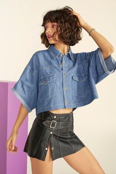 1f53e92af22 Nasty Gal Vintage Boxy Lady Denim Cropped Shirt Cropped Shirt, Holy Chic,  Shirt Shop