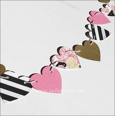 Decorate bridal and baby showers, birthdays or bachelorette parties with our hearts & peonies party banner! Gold glitter, black and white stripes with pink flowers create a fabulous focal point for wa