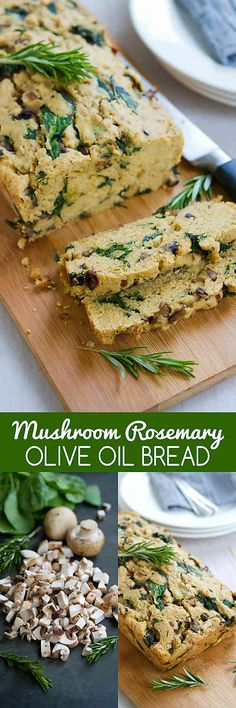You won't be able to stop eating this savory Mushroom Rosemary Olive Oil Bread. It is really easy to make and is a fantastic side for soups! 179 calories and 6 Weight Watchers SmartPoints #EatSeasonal