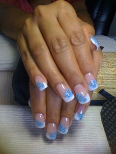 Blue fimo flower french nail