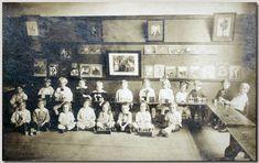 American kindergarten with Froebel's second gift visible on the floor and Milton Bradley kindergarten tables. Circa 1890. Norman Brosterman Kindergarten Collection.