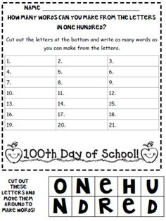 "Not actually teaching writing, but cute writing AND spelling activity for 100th Day! From ""A Day in 1st Grade"" blog."