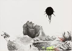 "A Plan to Escape From the World's Reversals  Kerstin Kartscher (German, born 1966)    2004. Felt-tip pen and gel-ink pen on paper, 27 1/4 x 39"" (69.2 x 99.1 cm). The Judith Rothschild Foundation Contemporary Drawings Collection Gift. © 2012 Kerstin Kartscher"
