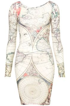 This is so cool!  Atlas Map Dress By Tee And Cake