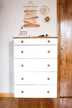 1 IKEA TARVA Dresser, put vintage legs on a new chest of drawers
