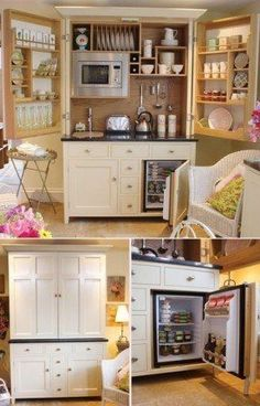 Beautiful Kitchenette for your cottage or tiny home. #tinyhome #homedecor #kitchen #smallspacesolutions