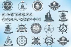 Set of vintage nautical labels by Tomass2015 on Creative Market