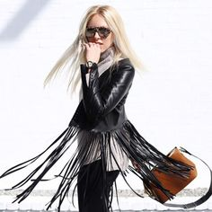 ThePerfext | Christy Fringe Leather Jacket in Black | Spotted on @peaceloveshea #bloggerstyle #fallfashion