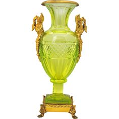 Baccarat Style Vaseline Cut Glass Vase or Urn with Brass Swan Handle Mounts found at www.rubylane.com @rubylanecom