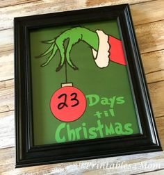 Your kids will love counting down the days until Santas arrival with this Free Grinch Hand Christmas Countdown Printable. Grinch Party, Grinch Christmas Party, Office Christmas, Diy Christmas Tree, Christmas Countdown, Winter Christmas, Holiday Fun, Christmas Holidays, Christmas Ideas