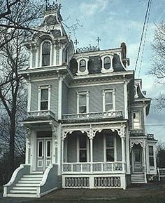 1875 Victorian House: Stick Eastlake structures include square bays, flat roof lines, decorative trusswork, & lots of spindles & brackets