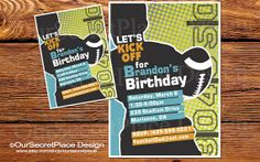 Football Boy Sports Birthday Party Invitation by OurSecretPlace, $15.99 Printable and personalized.