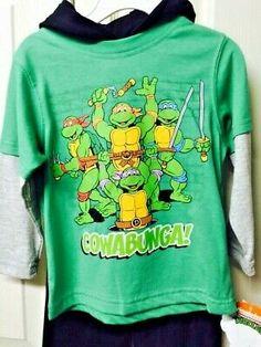 New Ninja Turtles TMNT cotton t-shirt top Tshirt 3//4 denim pants 2pc outfit set