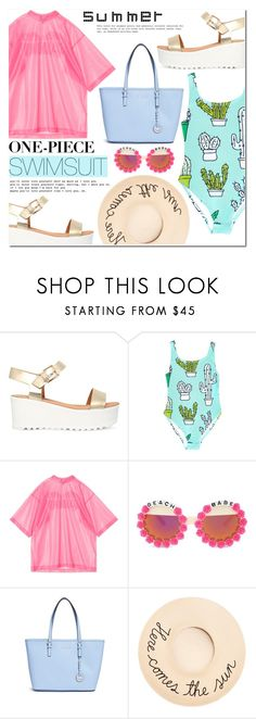 """One-piece Swimsuit"" by makeupgoddess ❤ liked on Polyvore featuring Miss KG, Rad+Refined, Michael Kors and Eugenia Kim"