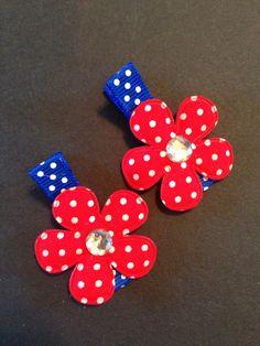 Patriotic flower hair clippies by mycutesies on Etsy, $3.00