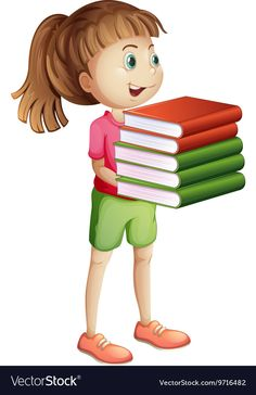 Girl carrying many books vector image on VectorStock Royalty Free Clipart, School Days, Adobe Illustrator, Carry On, Vector Free, Clip Art, Illustration, Books, Cards