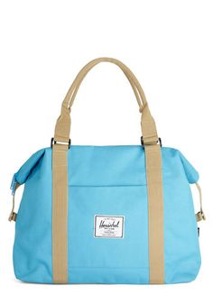 Places to Be Bag in Aqua by Herschel Supply Co. - Blue, Tan / Cream, Solid, Travel, Better, Blue, Woven, Graduation, Summer, Maternity, Work