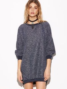 Navy Ribbed Split Side High Low Sweatshirt Dress