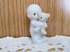 """Precious Moments """"Jesus Loves Me"""" Little Boy with Bear Figurine at The CalicoBear on Etsy"""