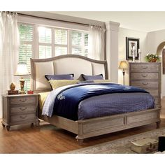 Furniture of America Minka II Rustic Grey Platform Bed (Queen), Beige