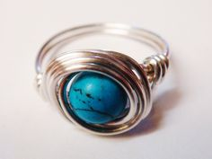Turquoise Ring - Turquoise Jewelry - Sterling Silver Ring - Wire Wrapped Ring - December Birthstone - December Birthday by SpiralsandSpice on Etsy https://www.etsy.com/listing/117544422/turquoise-ring-turquoise-jewelry