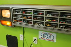 DIY Light-Up Truck Grille Toy Car Organizer Truck Grill Car Holder Boys Room Decor. Baby Boy Room Decor, Boy Decor, Baby Boy Rooms, Playroom Decor, Kids Rooms, Baby Room, Diy Toys Car, Car Bedroom, Houses