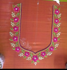 One of my creations Best Blouse Designs, Simple Blouse Designs, Silk Saree Blouse Designs, Bridal Blouse Designs, Blouse Neck Designs, Embroidery Neck Designs, Embroidery Works, Beaded Embroidery, Hand Embroidery