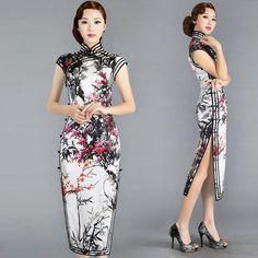 Black white and red Chinese cherry blossom floral qipao handmade summer cheongsam silk dress | Modern Qipao