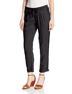 Michael Stars Womens Cuffed Ankle Linent Pant with Drawstring Black Medium ** See this great product.