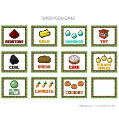 12 pages of Minecraft party food cards!!