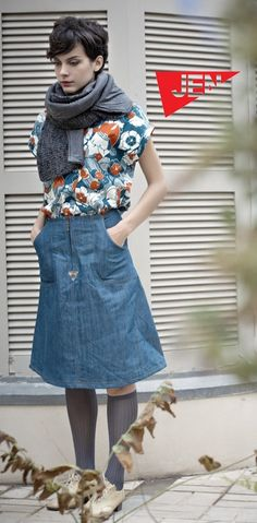 below the knee length jean skirt Jean Skirt, Denim Skirt, Stylish Outfits, Fashion Outfits, Ugg, Look Cool, Blue Jeans, What To Wear, Style Me
