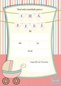 Veja alguns modelos de convites para chá de bebê. Modelo para imprimir, é gratuito, é só fazer o download. Se inspire com estes modelos de convites.