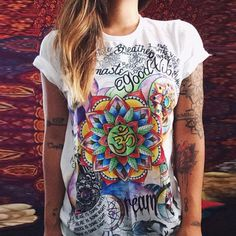 Colorful Mandala Art With Positive Words T-Shirt
