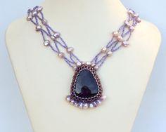 Statement necklace with amethyst N1287 by Fleur-de-Irk.deviantart.com on @DeviantArt