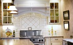 This simple yet detailed focal backsplash offers a bit of interest without detracting from the rest of the space