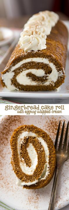 Gingerbread Cake Roll filled with Eggnog Whipped Cream - perfect for any Christmas party! A soft gingerbread cake is filled with an eggnog whipped cream! I can guarantee that even non-gingerbread and non-eggnog lovers will LOVE this cake roll. Holiday Baking, Christmas Desserts, Christmas Baking, Christmas 2017, Cake Roll Recipes, Dessert Recipes, Winter Torte, Gingerbread Cake, Gingerbread Recipes