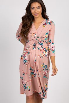 Mauve Floral 3/4 Sleeve Knot Front Maternity Dress