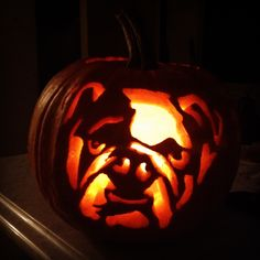 Bulldog pumpkin carving