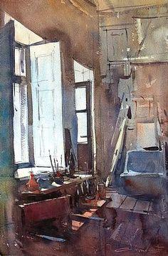 """*Watercolor - """"Art Studio"""" by Eugen Chisnicean Art Aquarelle, Watercolor Landscape, Watercolour Painting, Painting & Drawing, Watercolours, Art And Illustration, Illustrations, Watercolor Architecture, Guache"""