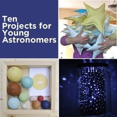 Projects for Young Astronomers- 10 different crafts relating to space theme. making own star jars looks easy and fun! Science For Kids, Science Activities, Science Projects, Projects For Kids, Activities For Kids, Craft Projects, Crafts For Kids, Diy Crafts, Space Projects