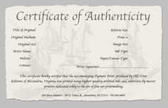 certificate of authenticity of a fine art print