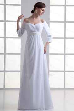 Chiffon Sweetheart Empire line Floor Length Three-quarter Sleeves Wedding Dress - Focus Vogue