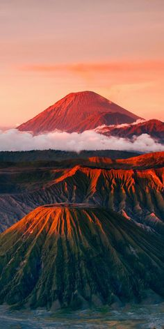 An active volcano in Mount Bromo, Indonesia.
