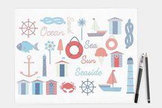 Nautical Seaside Vector Clipart Baby