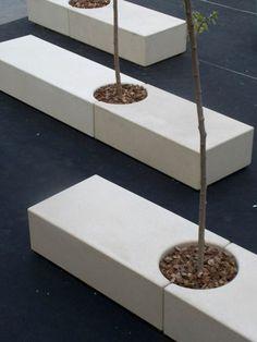 Banc public contemporain en béton avec jardinière intégrée GODOT by díez+díez diseño Escofet