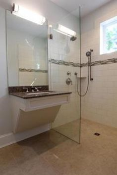 roll-under sink right next to glass shower partition